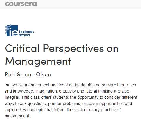 Critical Perspectives on Management - Coursera