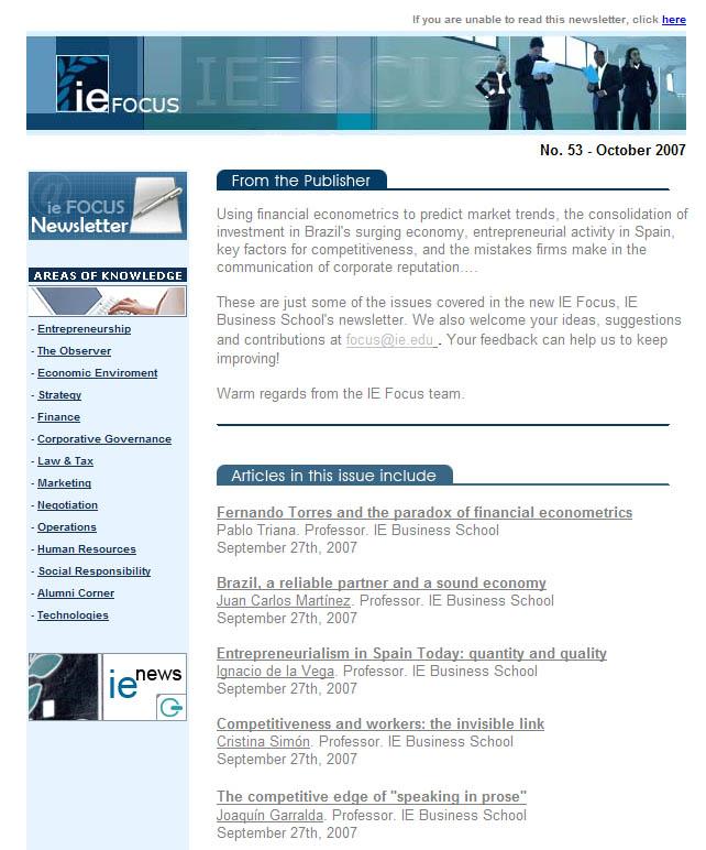 IE Focus Newsletter